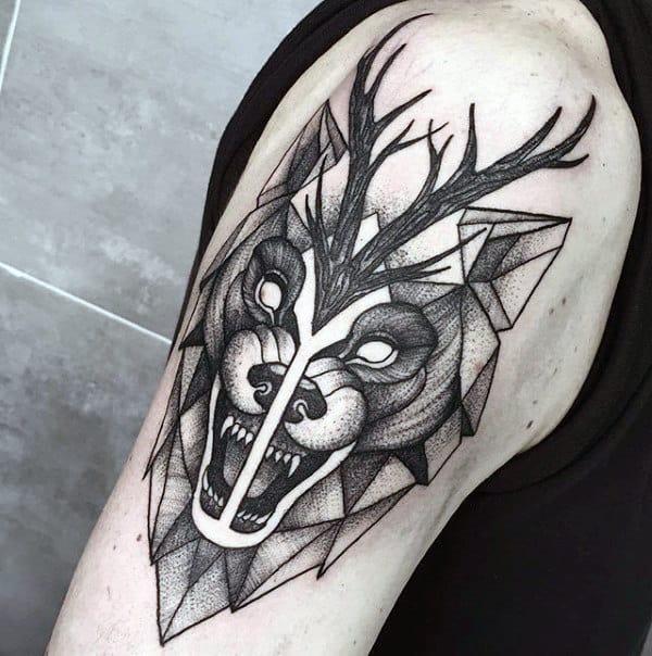 Upper Arm Growling Geometric Wolf Mens Tattoos