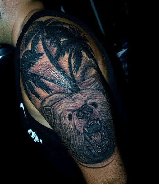Upper Arm Guys Angry Bear Palm Tree Tattoos