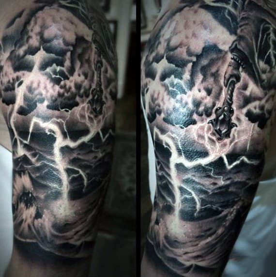 Upper Arm Guys Clouds With Lightning Tattoos