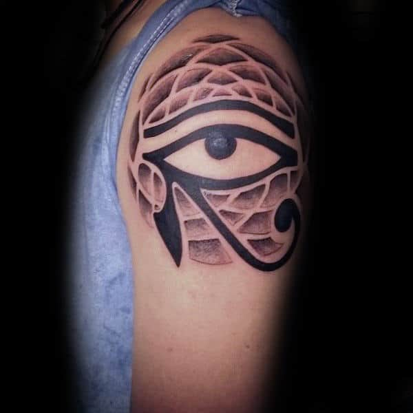 Upper Arm Guys Eye Of Horus Pattern Tattoo Ideas