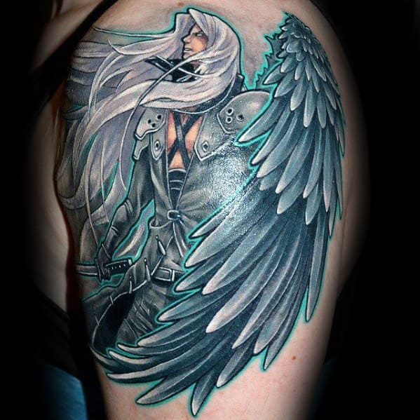 upper arm black and grey final fantasy tattoo on guy