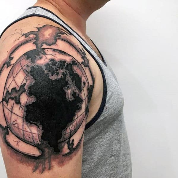 Upper Arm Guys Globe Tattoo Ideas