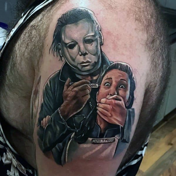 Upper Arm Guys Michael Myers Tattoo Design Ideas