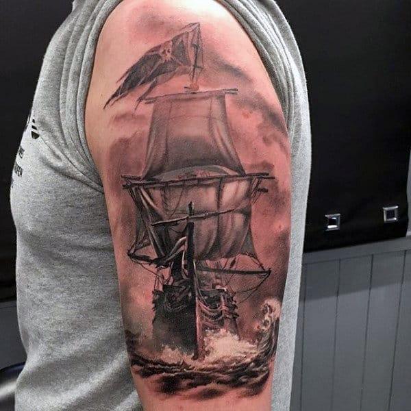 Upper Arm Guys Nautical Realistic Pirate Ship Tattoo Deisgn