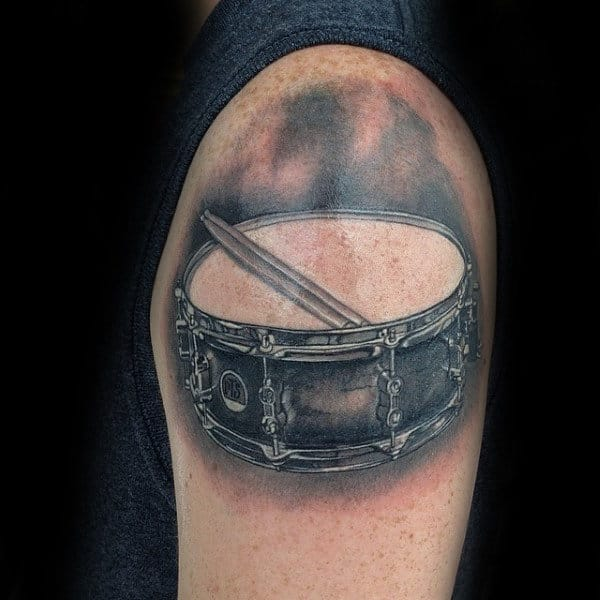Upper Arm Guys Snare Drum Tattoo Design Inspiration