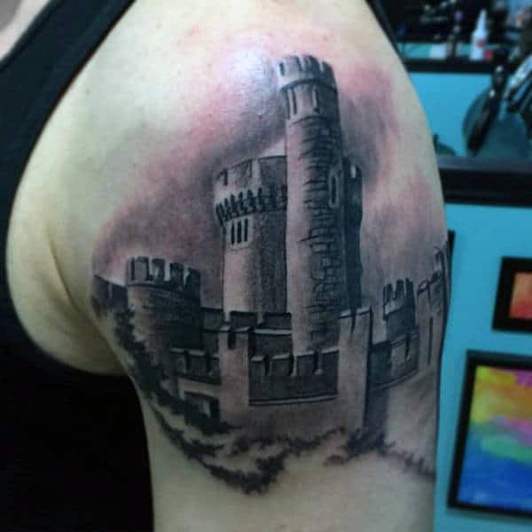 Upper Arm Guys Tattoos With Scottish Castle Design