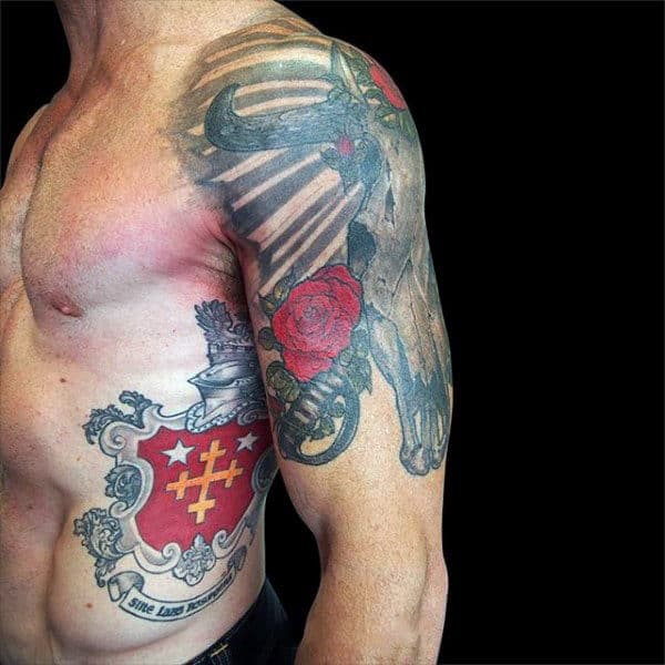 Upper Arm Half Sleeve Bull Skull With Red Rose Guys Tattoos