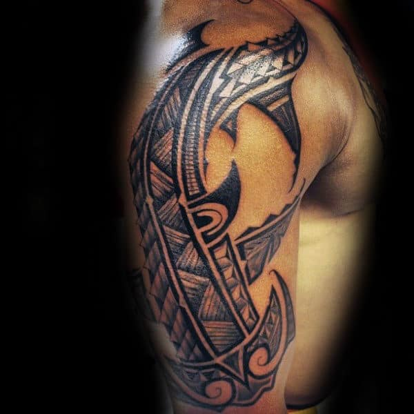 Upper Arm Half Sleeve Mens Tribal Shark Tattoo Design Ideas