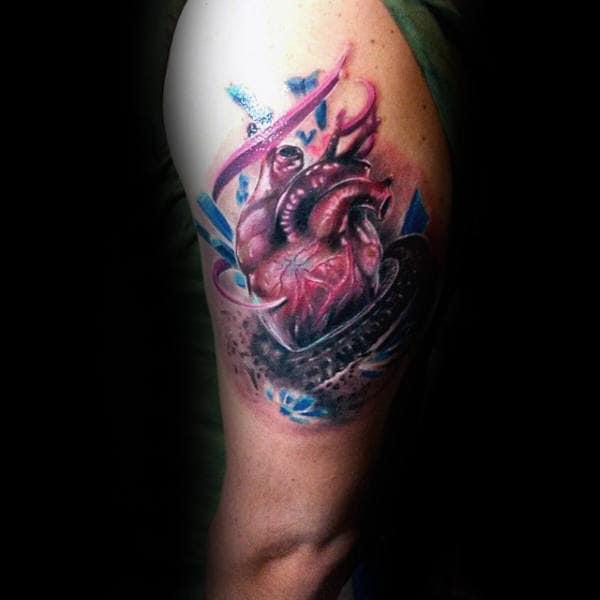 Upper Arm Heart Motocross Tattoos For Guys