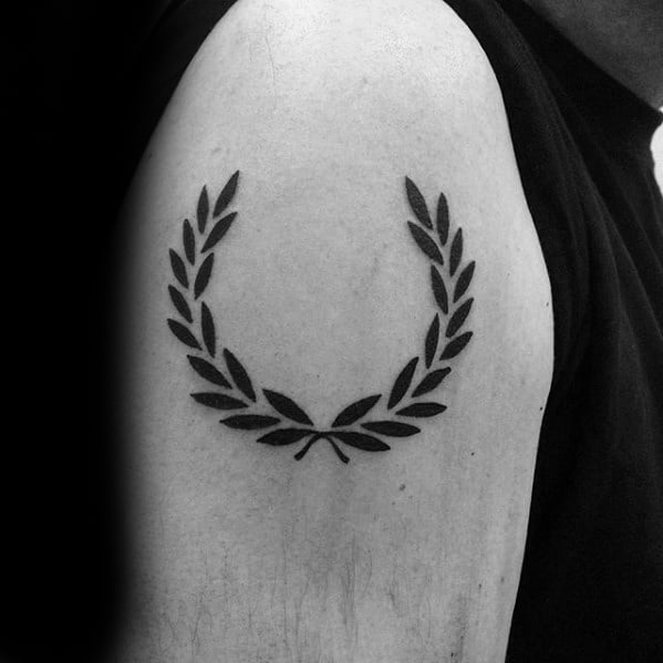 Upper Arm Laurel Wreath Tattoo Ideas For Gentlemen