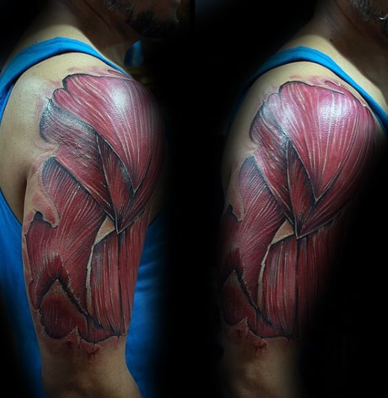 Upper Arm Layed Muscle Male Tattoo Ideas