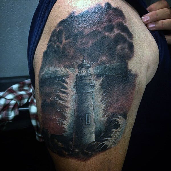 Upper Arm Lighthouse Tattoos Of Clouds For Men