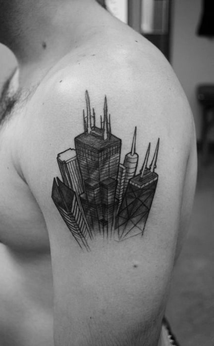20 chicago skyline tattoo designs for men urban center ink for Chicago ink tattoo