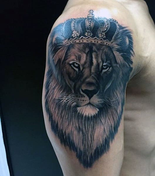 Upper Arm Lion King Tattoo For Males With Crown