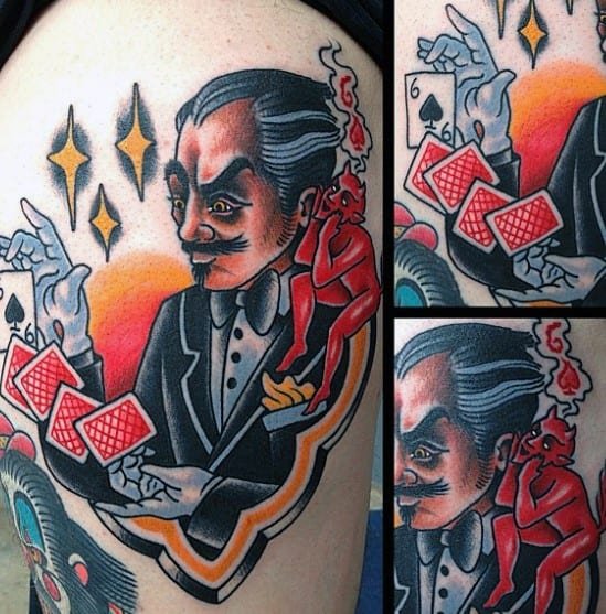 Upper Arm Magician Male Tattoo Designs