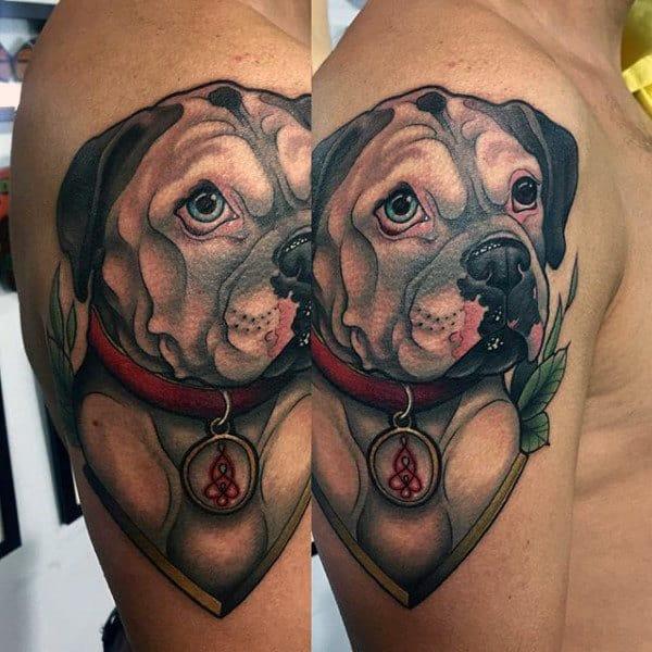 Upper Arm Male Dog Tattoo Design Inspiration