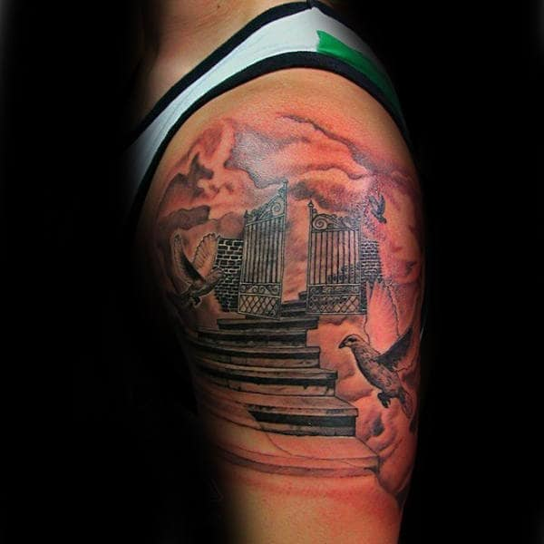 Upper Arm Male Heaven Gates With Stairs Tattoo
