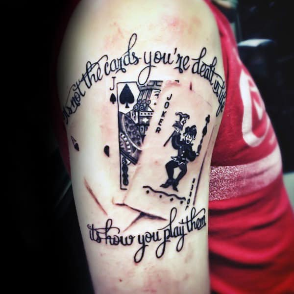 Upper Arm Male Playing Card Tattoos