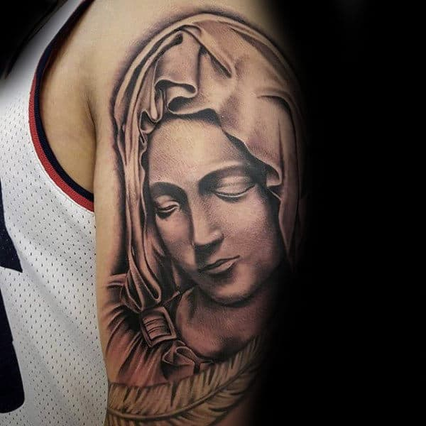 Upper Arm Male Tattoo Of Virgin Mary Portrait