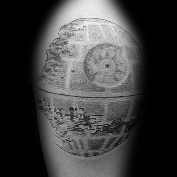 Upper Arm Male Tattoo With Death Star Design