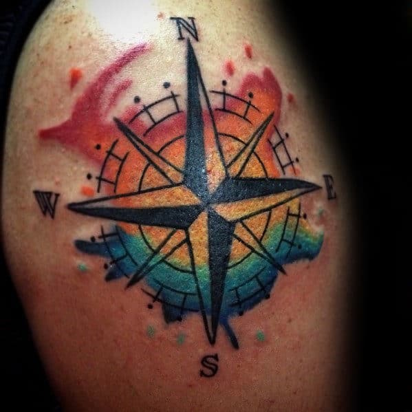 Upper Arm Male Watercolor Compass Tattoos