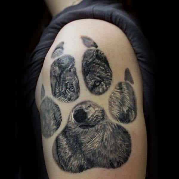 Upper Arm Male Wolf Paw Tattoo Design Inspiration