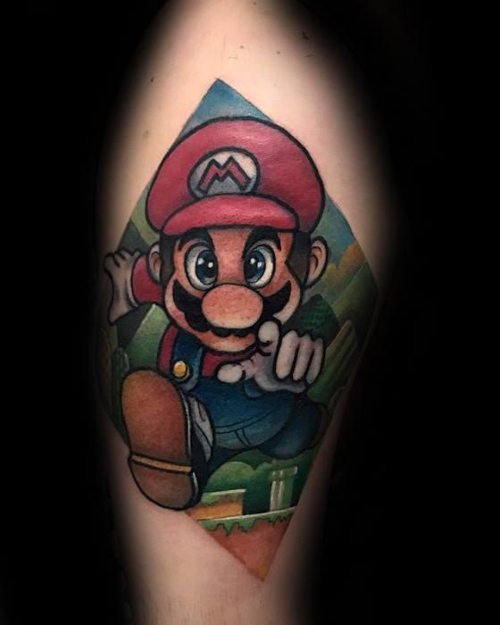 Upper Arm Mario 3d Gamer Tattoos For Gentlemen