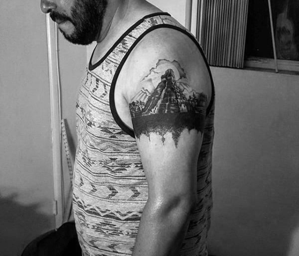 Upper Arm Mayan Pyramid Tattoos For Males