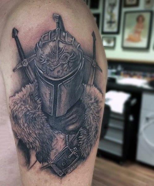 Upper Arm Medieval Knights Tattoos For Men