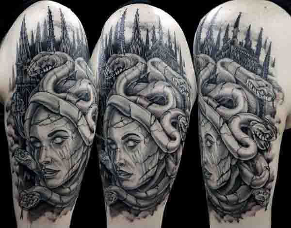 Upper Arm Medusa Male Tattoos