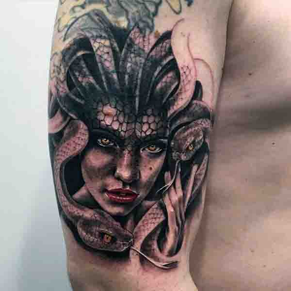Upper Arm Medusa Tattoo For Males