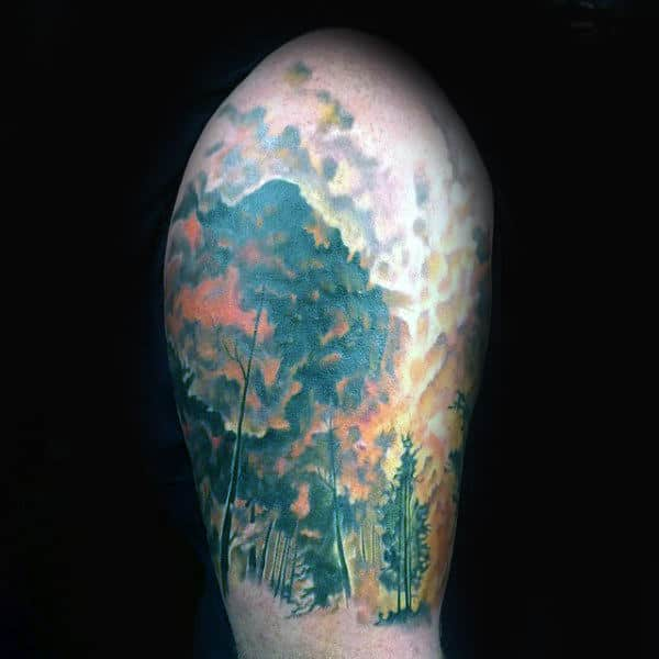 Upper Arm Mens Forest Fire Tattoos Half Sleeve