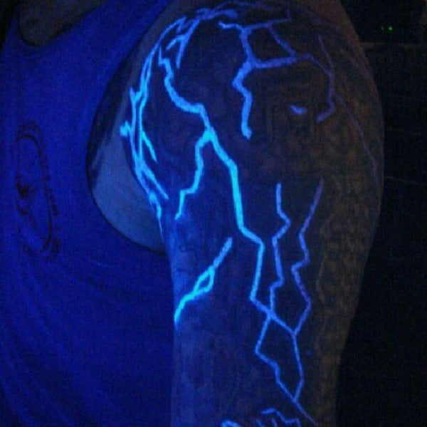Upper Arm Mens Glow In The Dark Thunder Tattoo Under Black Light