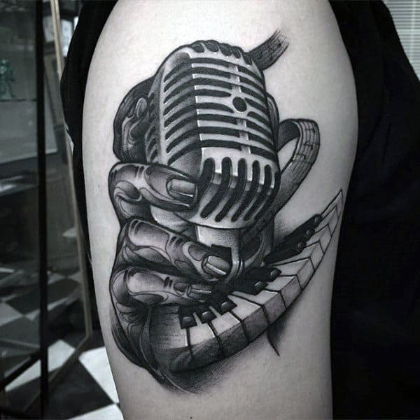 Upper Arm Mens Hands Clutching Microphone Tattoos