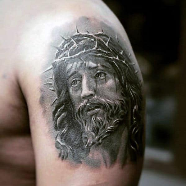 Upper Arm Mens Jesus Face Tattoo Design