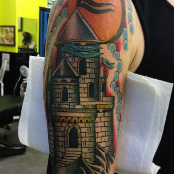 Upper Arm Mens Middle Ages Castle Tattoos