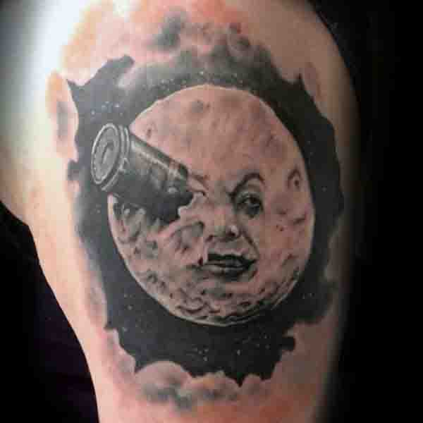 Upper Arm Mens Moon Tattoos With Face Design
