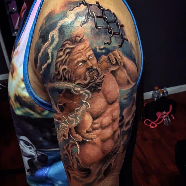 Upper Arm Mens Tattoos Of Zeus