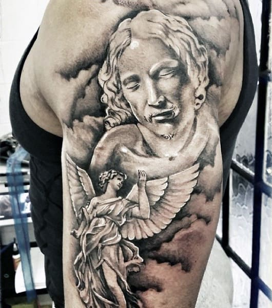 Upper Arm Mens Tattoos With Clouds