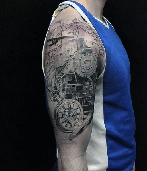 Upper Arm Mens Train Tattoos