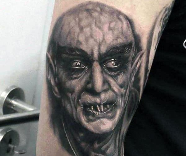 Upper Arm Mens Vampire Tattoo Realistic Design Ideas