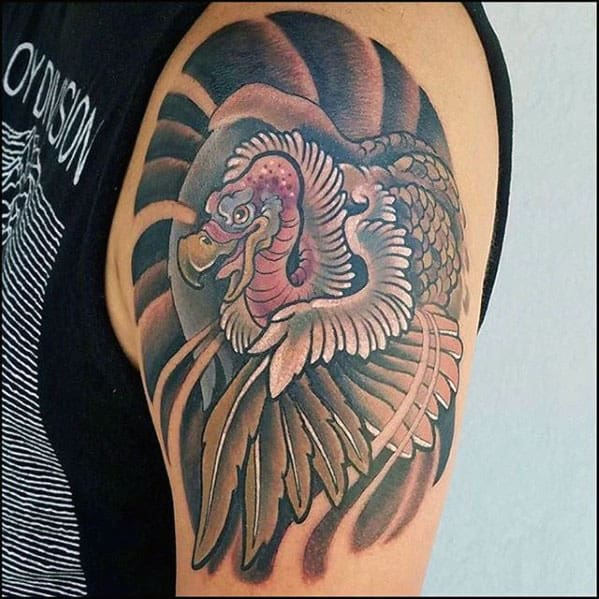 Upper Arm Mens Vulture Tattoo Inspiration