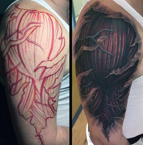 Upper Arm Muscle Mens Ripped Skin Tattoo Designs
