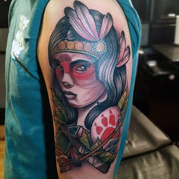 Upper Arm Native American Woman With Tomahawk Mens Tattoo