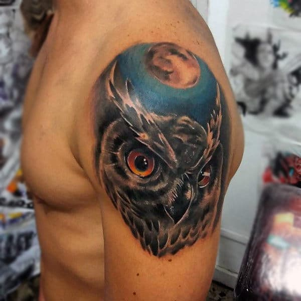 Upper Arm Owl With Moon Animal Tattoos For Guys