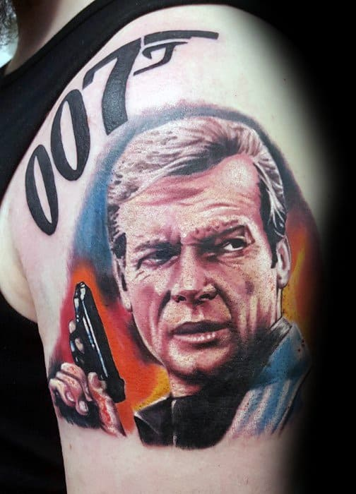 Upper Arm Portrait 007 James Bond Tattoo Designs For Guys