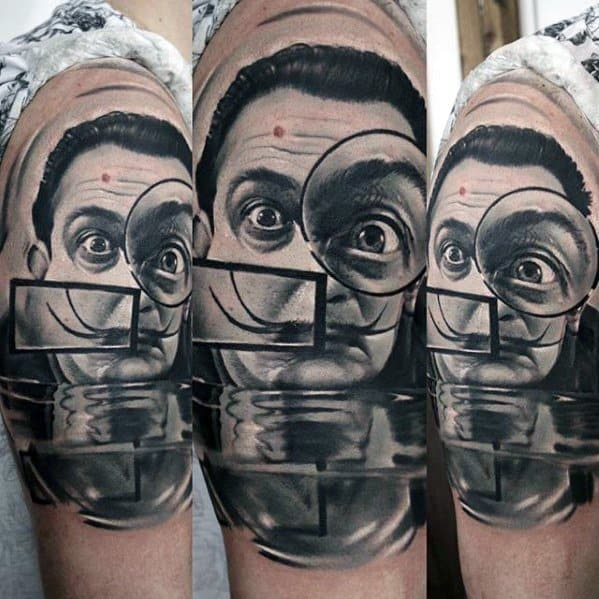 Upper Arm Portrait Realistic 3d Masculine Salvador Dali Tattoos For Men