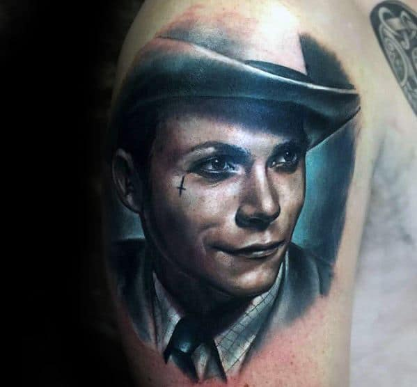 Upper Arm Portrait Tattoo On Men
