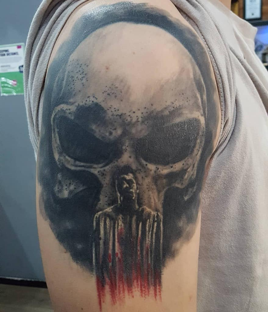 upper arm punisher skull tattoo 71prem