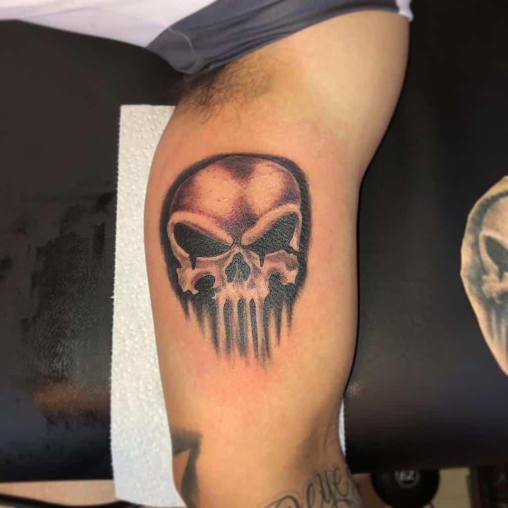 upper arm punisher skull tattoo adrixell_tattoos510